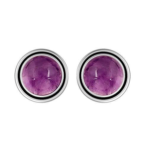 Genuine 8mm Round Shape Amethyst Stud Earrings 925 Silver Plated Handmade Stud Earrings Jewelry For Women Girls