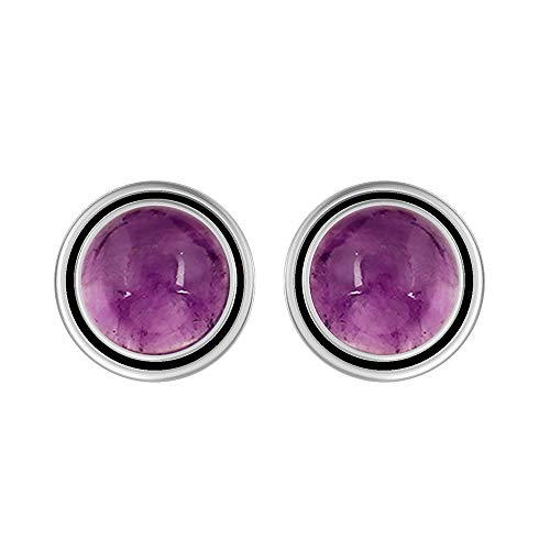 Genuine 8mm Round Shape Amethyst Stud Earrings 925 Silver Plated Handmade Oxidized Finish Stud Earrings Jewelry For Women Girls
