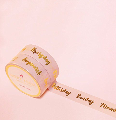 Weekdays and Weekend Words in Gold Foil Washi Tape for Planning • Scrapbooking • Arts Crafts • Office • Party Supplies • Gift Wrapping • Colorful Deco…