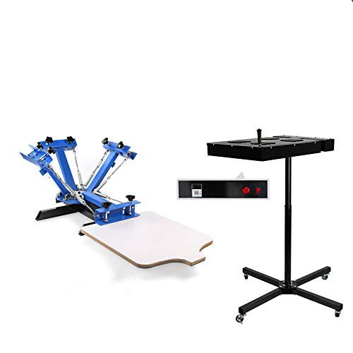 VEVOR Flash Dryer+Silk Screen 16X16Inch Flash Dryer Kit with 4 Color 1 Station Silk Screen Printing Machine Adjustable Stand with Temperature Display