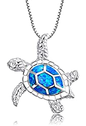 Z&T [Health and Longevity] Sterling Silver Created Blue Opal Sea Turtle Penadnt Necklace