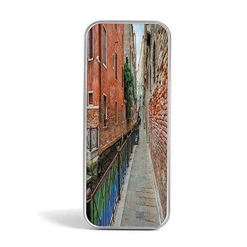 (Tin Pencil Box,Venice,Pen Case Organizer for School Office Home,Empty Idyllic Streets of Venezia Travel Destination Romantic Vacation Old Buildings)