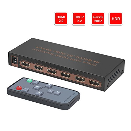 4K@60Hz 5 ports HDMI Switch, YIBAI 5 inputs 1 output HDMI Switch Box with IR Wireless Remote HDMI 2.0,HDCP 2.2,UHD,CEC,HDR HDMI Switcher 5x1 Supports FullHD,3D,For Blu-ray players,PS4, and more.