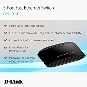 D-Link 5-Port Fast Ethernet Unmanaged Desktop Switch, Plug and play, Fanless design, D-Link Green energy saving features…