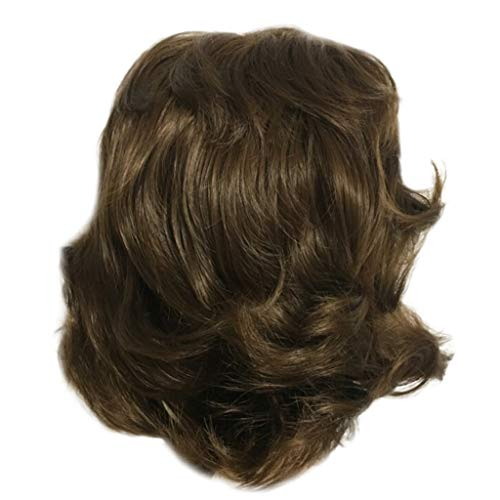 Mysky Fashion Women Synthetic No Front Lace Short BOB Brown Color Curly Hair Wig Natural Hair Wigs -