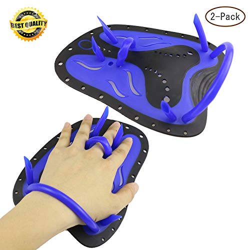 (Anysoso Swimming Hand Paddles, Professional Swim Training Paddles Hand Paddles Power Paddles Swimming Training Aid Large Flat Paddles for Men Women Children-Blue)