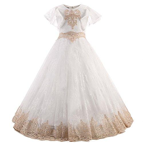 dd5d150437681 De Dentelle Robe En Soirée Cocktail Fille Longue Habillée Blanc D honneur  Baptême t 13 Costume Multi Mariage ...