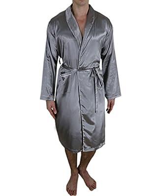 Victoria Silk Mens Gorgeous Long Lounge/Sleepwear Robe&Bathrobe One Size Fits Most Silver