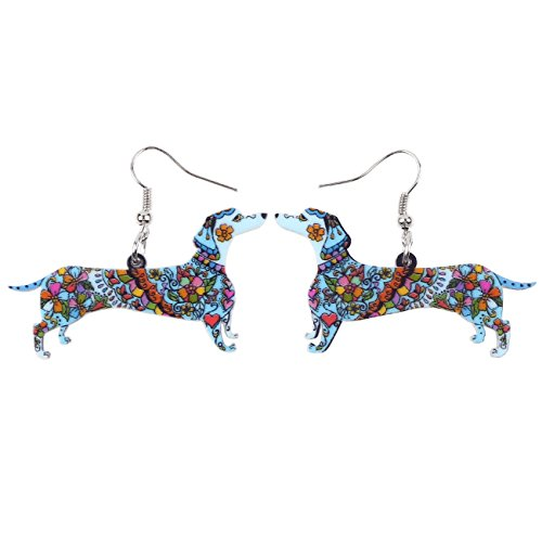 Bonsny Drop Dachshund Dog Earrings Funny Design Six Color Lovely Gift For Girl Women Jewelry (Blue)