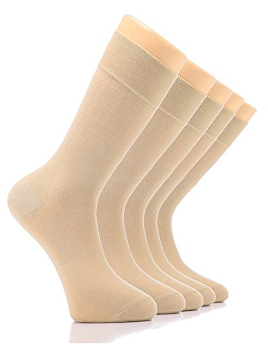 LAETAN Elite Women's Bamboo Dress Socks, Crew Size (Beige/Bamboo (5 Pairs)) by LAETAN (Image #2)