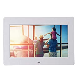 Iusun Advance Digital Photo Frame 10.2 inch HD TFT LCD Slim Alarm Clock MP4 Remote Control Included with Multimedia Playback Contemporary Design with Touch Button (White)