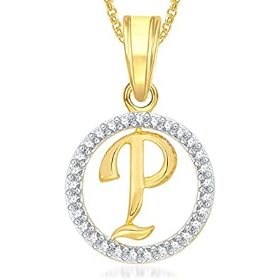 Buy Meenaz Gold Plated Crystal Diamond Jewellery P Letter
