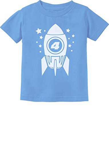 Gift for Four Year Old 4th Birthday Space Rocket Toddler/Infant Kids T-Shirt 5/6 California Blue