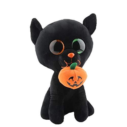ILUTOY Ty Beanie Stuffed & Plush Animals Black Cat with Pumpkin Halloween Customized Toy Doll 10