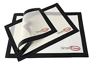 SimpliFine Eco-Friendly Silicone Baking Mat, Set of 3 for Half, Quarter and Small Oven Sheet