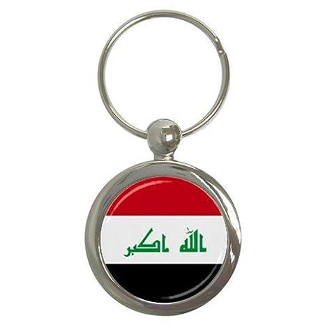 Amazon.com: Bandera de Irak redondo llavero: Home & Kitchen