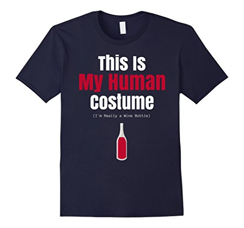 Mens This Is My Human Costume Wine Bottle Funny Halloween T Shirt 3XL (Wine Bottle Costumes For Halloween)