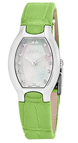 Ebel Beluga Tonneau Womens Mother-of-Pearl Face Diamond Green Leather Strap Swiss Quartz Watch 1216206