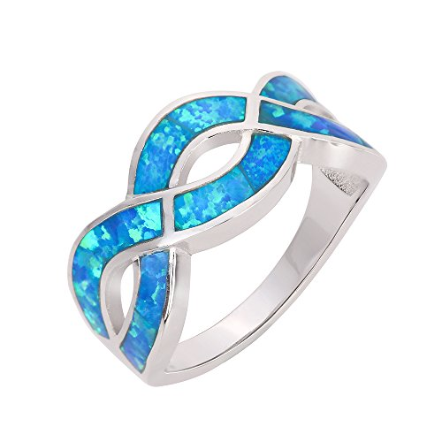 (CloseoutWarehouse Blue Simulated Opal Infinity Knot Ring Sterling Silver Size 9)