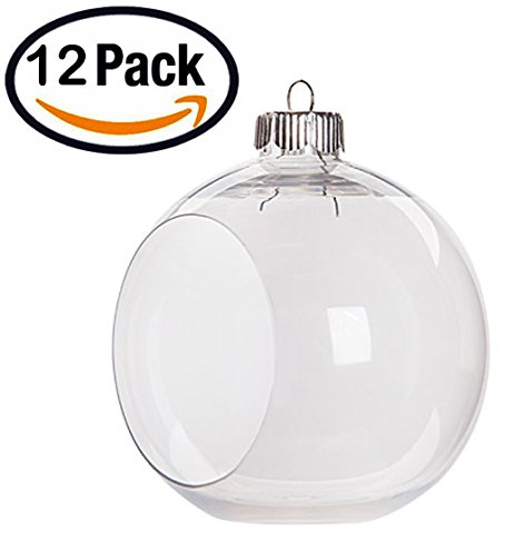 Creative Hobbies Clear Plastic Ornament Balls, Open Front with Flat Bottom, Great for Terrariums, 3.25 Inch (83 mm), Box of 12 Pieces (Terrarium Plastic)
