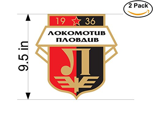 fan products of Lokomotiv Plovdiv FC Bulgaria Soccer Football Club FC 2 Stickers Car Bumper Window Sticker Decal Huge 9.5 inches