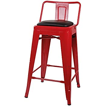 Amazon Com Gia M01 24b Red Pu 1 24 Low Back Stool 1 Pack