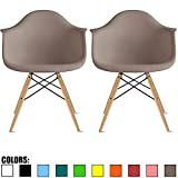 2xhome Set of 2 Gray Mid Century Modern Plastic Dining Chair Molded Arms Armchairs Natural Wood Legs Desk No Wheels Accent Chair Vintage Designer for Small Space Table Furniture Living Room Desk DSW