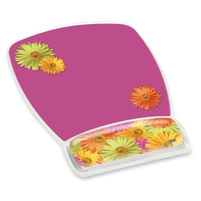3M/COMMERCIAL TAPE DIV MW308DS Fun Design Clear Gel Mouse Pad Wrist Rest, 6 4/5 x 8 3/5 x 3/4, Daisy Design 3m Fun Design