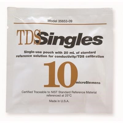 OAKTON Conductivity and TDS 10µS Calibration Single-Use Pouch Solution, Box of 20 by TableTop King