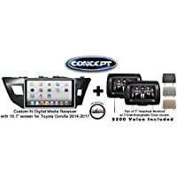 Concept FFMS-10L Custom-Fit Digital Media Receiver w/ 10.1 screen TOY-COR-10 for Toyota Corolla (2014-2017) & Pair of CLS703 7 Headrest Monitors w/ 3 color covers & FREE SOTS Air Freshener Included