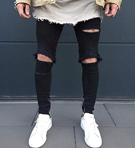 Colour Svago Uomo Fit Dei Pantaloni Tasca Denim Distrutti Neri Magro Jeans Stretch Slim Di Ofqa1