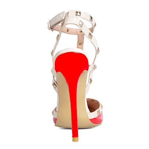 Kolnoo Damen Handgefertigte Slingback Spikes High Heel Party Fashion Sommer Sandalen Schuhe Rot