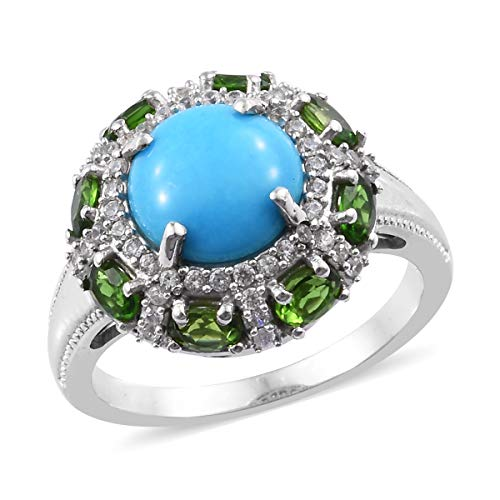 (Ring 925 Sterling Silver Platinum Plated Sleeping Beauty Turquoise Chrome Diopside Jewelry for Women Size 9)