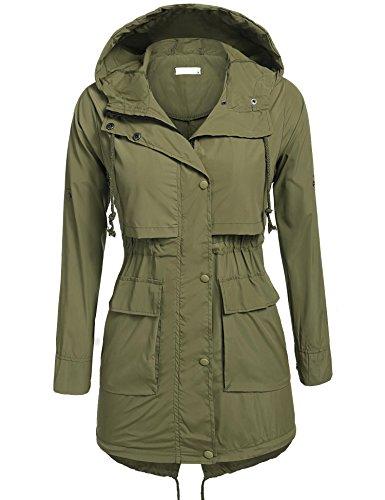 BeautyUU Unibelle Women's Lightweight Waterproof Rain Coat Hooded Active Outdoor Windbreaker Jacket (Army Green, XXL) (Plus Hood)