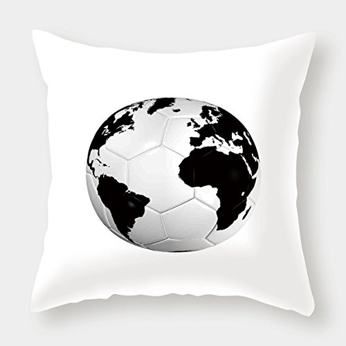 iPrint Cotton Linen Throw Pillow Cushion Cover,Sports Decor,Soccer Ball with World Map Football Cup 2010 Entertaining Professional Game,Decorative Square Accent Pillow Case