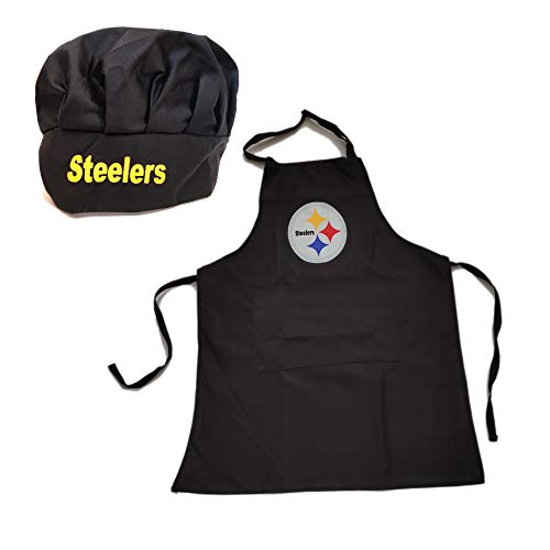 Pittsburgh Steelers Store (MT-Sports Store Team Logo Apron Chef Hat Set Adjustable Apron Chef Hat One Size (Pittsburgh)