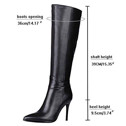 MERUMOTE Frauen Echtes Leder Spitzschuh Zipper Stiletto Fashion Dress Party Kniehohe Stiefel Schwarz
