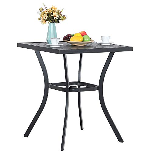 PHI VILLA 31 Metal Patio Height Bar Table Bistro Square Dining Table Outdoor Furniture Steel Frame All Weather for Outdoor, with Umbrella Hole for Outdoor Garden- 36 Height