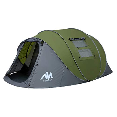 Zelt 4-6 Personen Wasserdicht, Pop up Zelte Familienzelt [5 Fenster] Riesiges Camping Zelt Doppelwandig Wurfzelt Shelter…