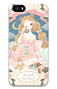 Cartoon Girl Cover Case Skin for iPhone 5 5S Hard PC 3D