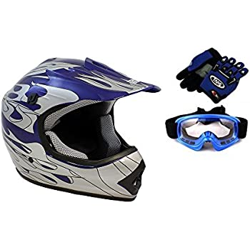 TMS Youth Kids Blue Flame ATV Dirt Bike Motocross Helmet with Goggles and Gloves (Large