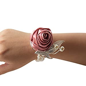 DESTINLEE Wedding Party Ribbon Bracelet-Bridesmaid Bridal Rose Flowers Wrist Corsage Silk Hand Flower Wristband with Faux Pearls for Wedding Prom Party 57