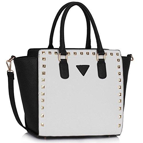 Traje de neopreno para mujer New para el hombro bolsa grande para mujer bolsos funda rígida con diseño de estampado de tamaño grande del famoso británico de piel sintética bolsa aislante para A - Black/White