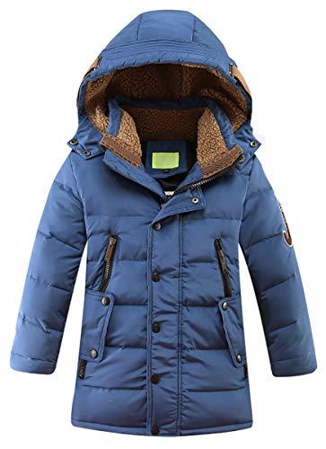 LISUEYNE Big Boys' Hooded Down Coat Mid-Long Winter Puffer Jacket for Kids 11 Blue 150/10