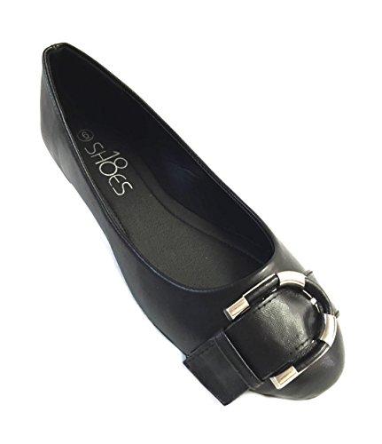Emuna Womens Faux Leather Ballerina Ballet Flats Shoes W/Buckle (9, Black 5058)