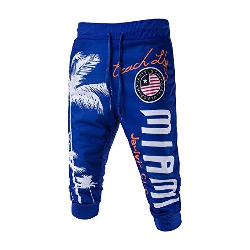 HTHJSCO Men's Hip hop Loose Sweatpants Graffiti Sports Jogger Trousers, Drawstring Elastic Waist Printing Loose Sports Pants (Blue, M) by HTHJSCO