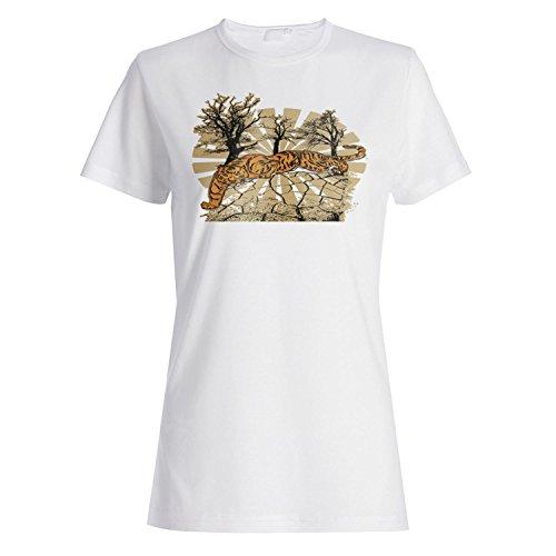 Tiger und Baum Lustige Kunst Neuheit Damen T-shirt nn86f