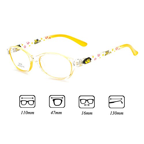 Filles Garçons Lunettes - Verres à lentilles transparentes Cadre Geek / Nerd Eyewear Lunettes avec boîtier en forme de voiture - hibote #112206 Jaune
