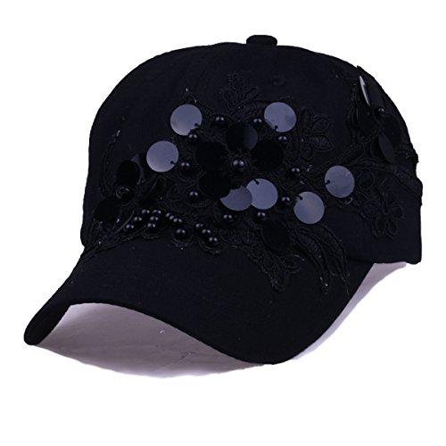 (Women Black Baseball Caps with Flower Sequins Rhinestone Snapback Golf Sun Hats (Sequins Black))
