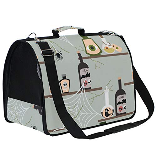 Pet Carrier Halloween Poison Bottle Foldable Travel Cat Carrier for Small Pet Cat Ferret Bunny Carrier